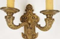 Antique cast bronze 2-candle wall sconce, circa 1910s