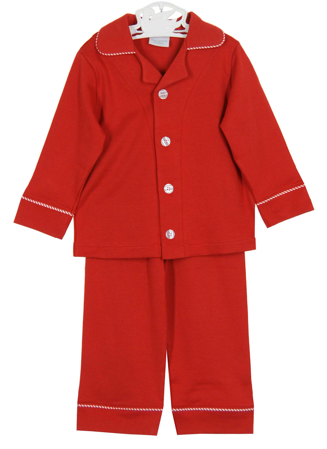Squiggles Monogrammable Red Pima Cotton Knit Pajamas With