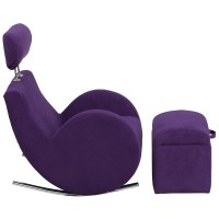 HERCULES Series Purple Fabric Rocking Chair with Storage ...