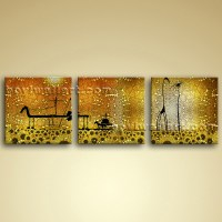 Large Abstract Canvas Wall Art Set 3 Pieces Picture Oil ...