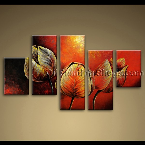 Large Canvas Painting Tulip Flowers Red Abstract Wall Art Framed Contemporary