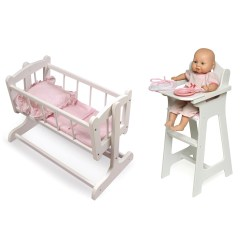 Badger Basket High Chair Unfinished Wood Rocking Runners Doll Set Simply Baby Furniture 89 99