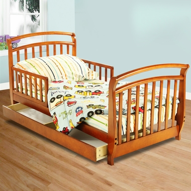 dream on me deluxe sleigh toddler bed with drawer in pecan free shipping