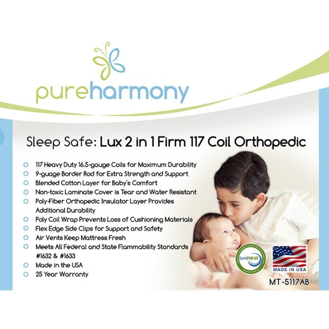 Pure Harmony Sleep Safe Lux 2 In 1 Firm 117 Coil Orthopedic Crib Mattress Free Shipping