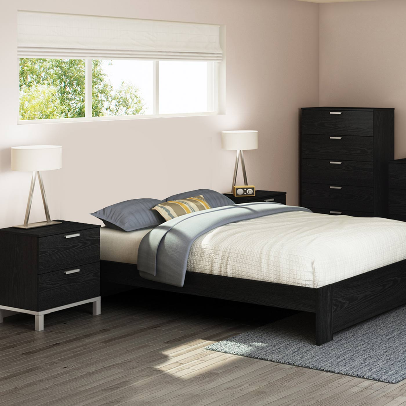 Southshore Flexible 3 Piece Bedroom Set Flexible Queen Platform Bed 5 Drawer Chest And Nightstand In Black Oak
