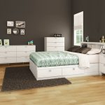 Southshore Karma 4 Piece Bedroom Set Karma Full Mates Bed Bookcase Headboard Double Dresser And 5 Drawer Chest In Pure White