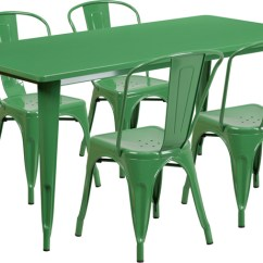 Dining Room Chair Protective Plastic Covers Wingback Chairs Johannesburg 31.5'' X 63'' Rectangular Green Metal Indoor-outdoor Table Set With 4 Stack Chairs, Et-ct005-4 ...