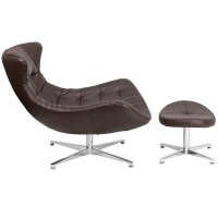 Brown Leather Cocoon Chair with Ottoman, ZB-42-COCOON-GG ...