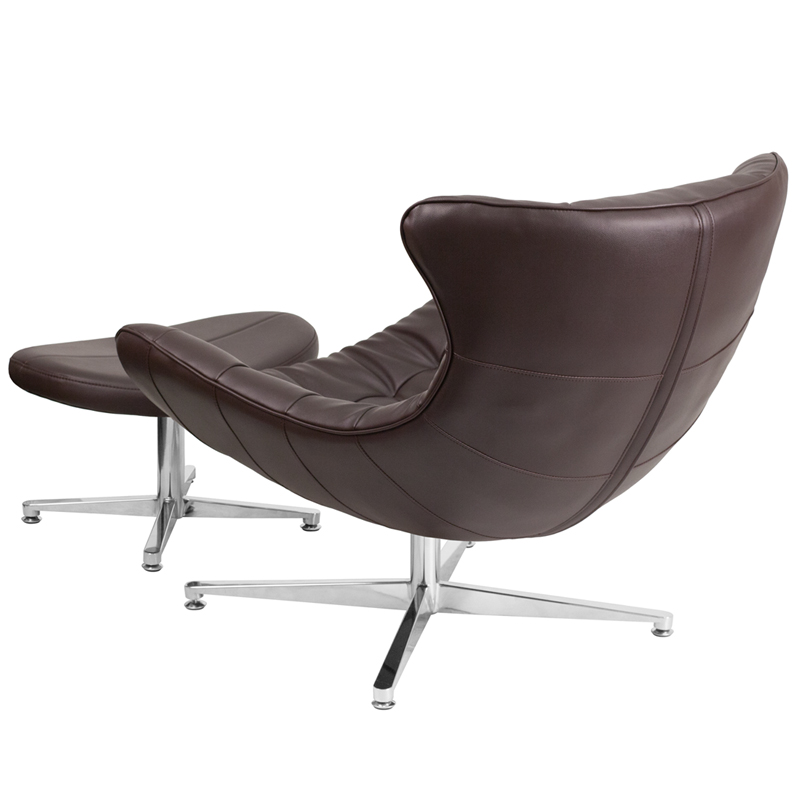 Brown Leather Cocoon Chair with Ottoman, ZB