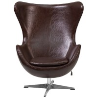 Brown Leather Egg Chair with Tilt-Lock Mechanism, ZB-11-GG ...