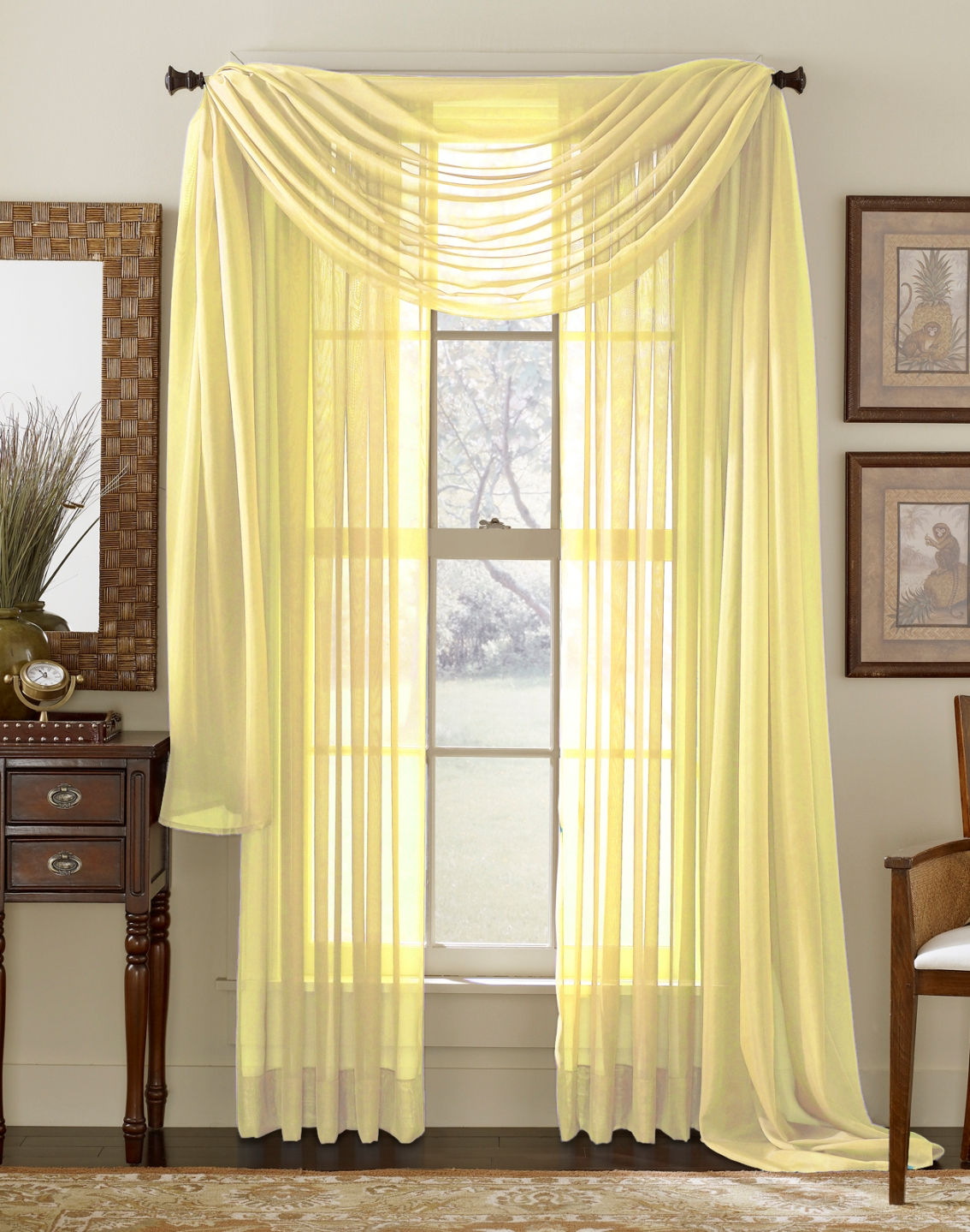 lemon yellow sheer curtain scarf home decor outlet