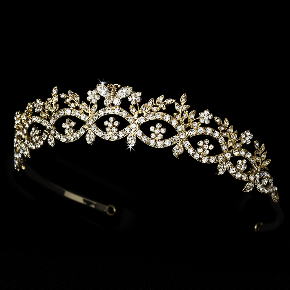 Gold Plated Butterfly Bridal Tiara HP 6246