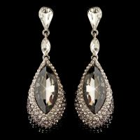 Silver Black & Smoke Teardrop Rhinestone Dangle Earrings 4105