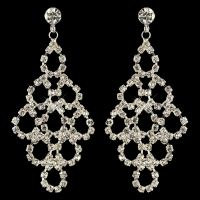 Silver Clear Rhinestone Chandelier Earrings 3832