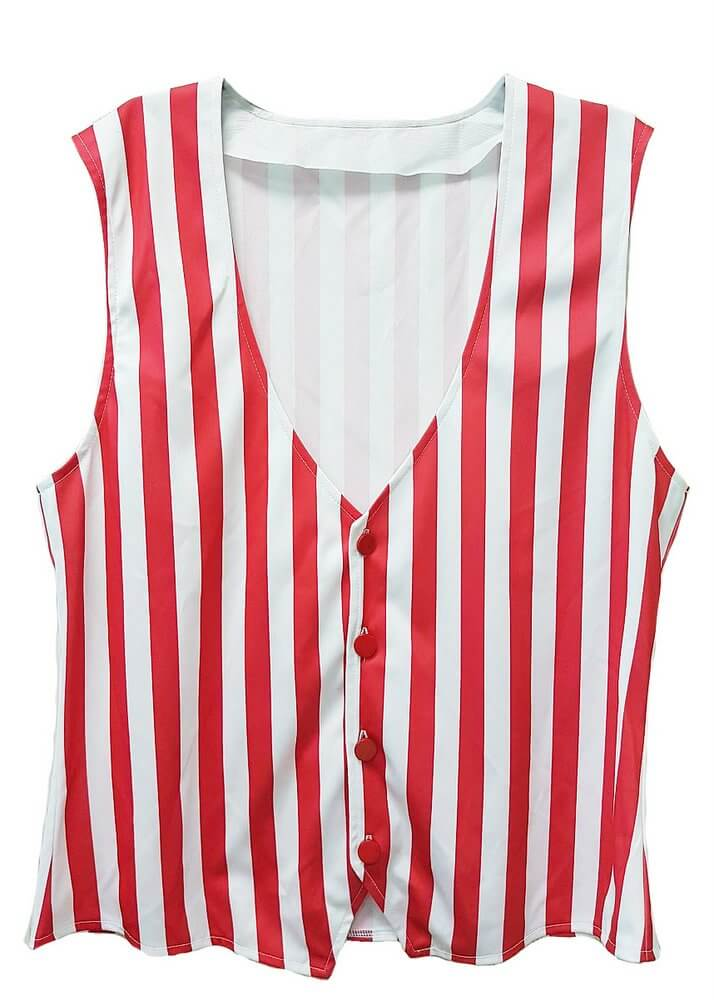 Adult RedWhite Striped Vest  Size Small to 3X  Candy