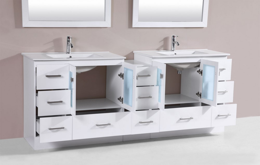 84 Hermosa White Double Modern Bathroom Vanity with Side