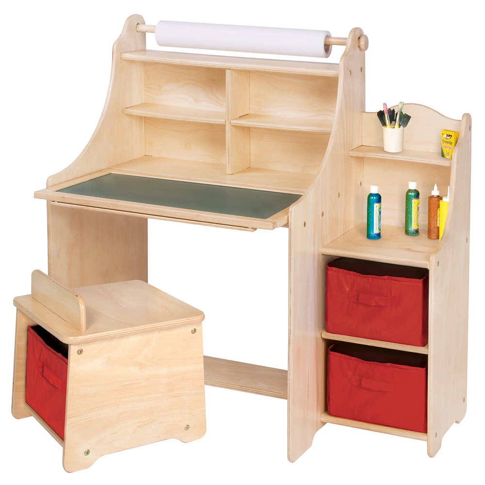 Artistic Kids Activity Desk wStoolStorage BinsPaper Roll