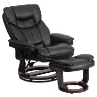 Contemporary Black Leather Recliner and Ottoman with ...