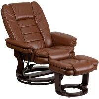 Contemporary Brown Vintage Leather Recliner and Ottoman ...