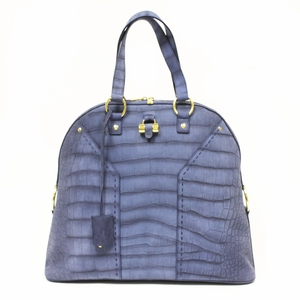 Yves Saint Laurent YSL Blue Suede Croc Print Oversized Muse Tote Bag 257435