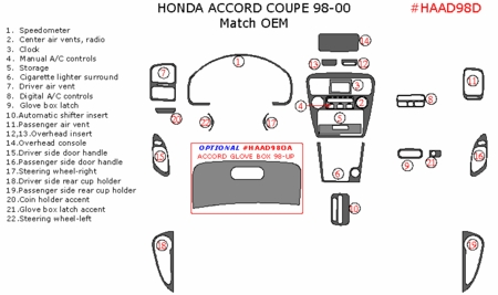 1998-2000 Honda Accord Coupe Addition to OEM Dash Trim Kit