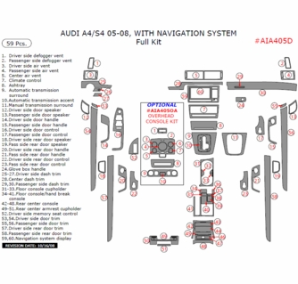 2005-2008 Audi A4 Full Dash Trim Kit, w/ Navigation System