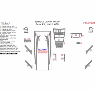 2007-2011 Toyota Camry Interior Basic Dash Trim Kit, 19