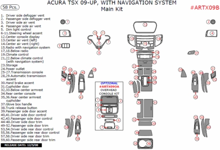 2009 2010 Acura TSX Main Dash & Interior Trim Kit, Auto