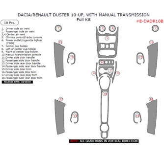 2010 Dacia / Renault Duster Interior Full Dash Trim Kit