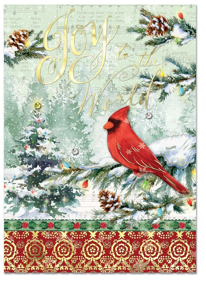 Joy Cardinal Boxed Cards Christmas Punch Studio