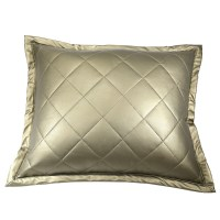 Faux Leather Pillow by Ann Gish, quilted leather throw