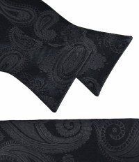 Black Paisley Bow Tie and Pocket Square Set by Paul Malone
