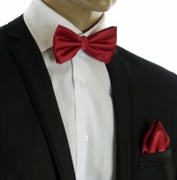 Burgundy Bow Tie and Pocket Square Set (BT100-W)