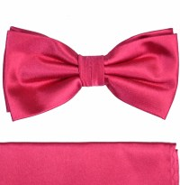 Paul Malone Bow Tie and Pocket Square Set . Solid Hot Pink ...
