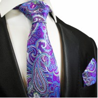 Purple and Blue Paisley Silk Tie Set by Paul Malone