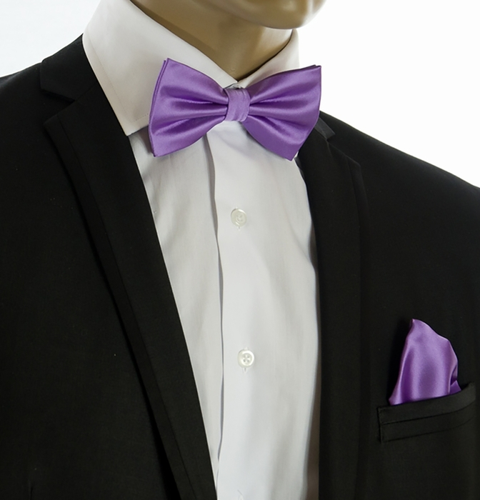 Purple Bow Tie and Pocket Square Set (BT100