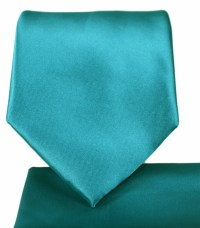 Solid Teal Necktie and Pocket Square Set (Q100-BB)