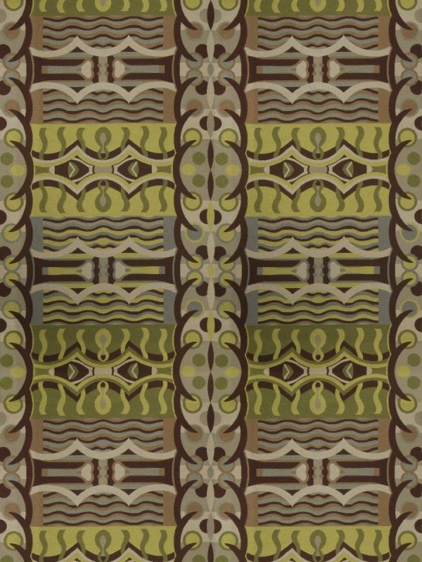 Designer Abstract Art Deco Upholstery Fabric Green Gray Brown