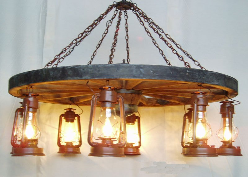DXWW026608 5foot diameter Wagon Wheel Chandelier with