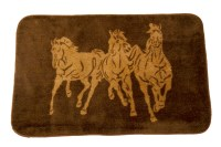 (HXBW3003) ''3 Horses'' Western Bath/Kitchen Rug