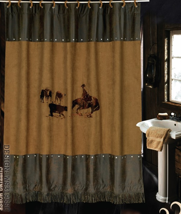 Hxws3195sc ''cutting Horse'' Western Embroidered Shower