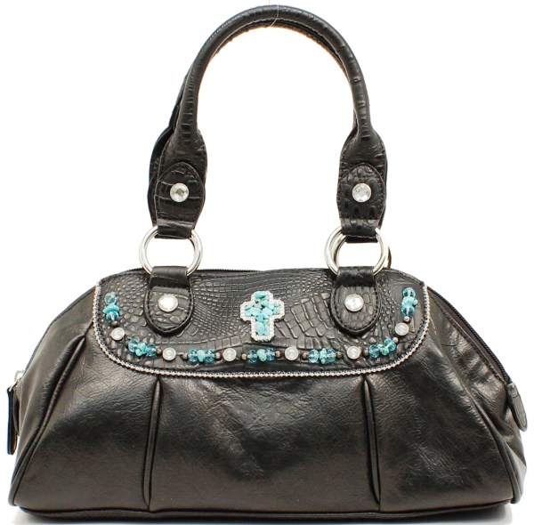 Mfwn7518801 Western Ladies' Black Gator Purse With