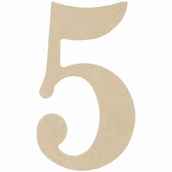 MDF Classic Font Wood Letters, Numbers & Symbols - 5 - Click to enlarge