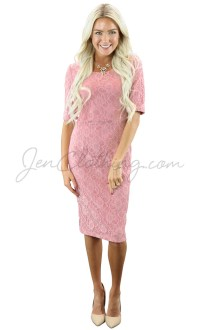 June Modest Bridesmaid Dress in Bridal Blush Pink Lace