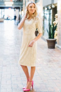 June Modest Bridesmaid Dress in Cream Lace