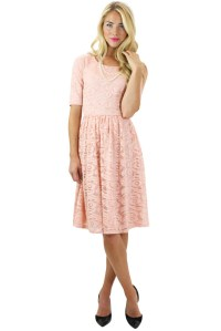 Modest Dresses: Samantha Lace Dress in Pink