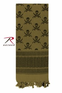 Rothco Shemagh Desert Tactical Scarf - OD w/ Skulls