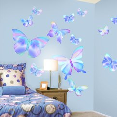 Butterfly Chair Covers Diy Slipcovers For Parsons Chairs Fluttering Peel And Stick Wall Mural In Summertime Blue