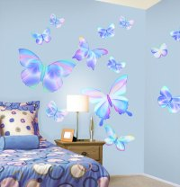 Fluttering Butterfly Peel and Stick Wall Mural in ...