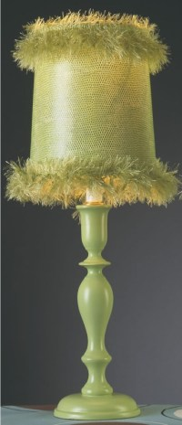 Green Apple Lamp With Fuzzy Shade - RosenberryRooms.com